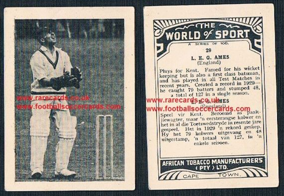 1930's South African Tobacco World of Sport cricket 29 Les Ames Kent CCC